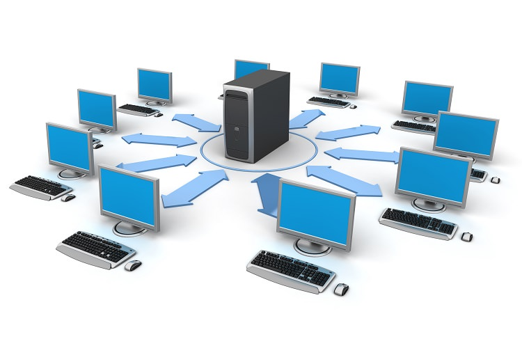 Image of computer network. White background.